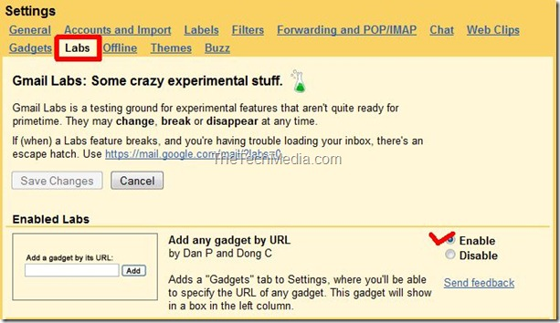 Googleaddgadgetslabs How to add Gadgets to GMail sidebar