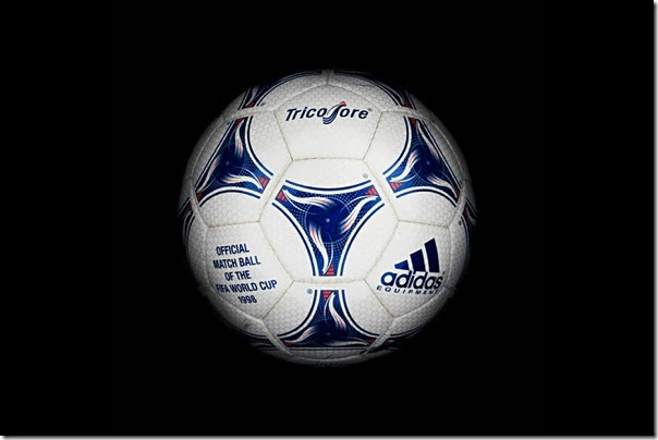 "The official soccer ball ""EQT Tricolore"" World Cup-1998, France."