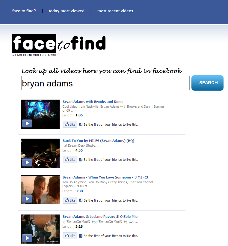 Facebook video search with Facetofind.com for Bryan Adams