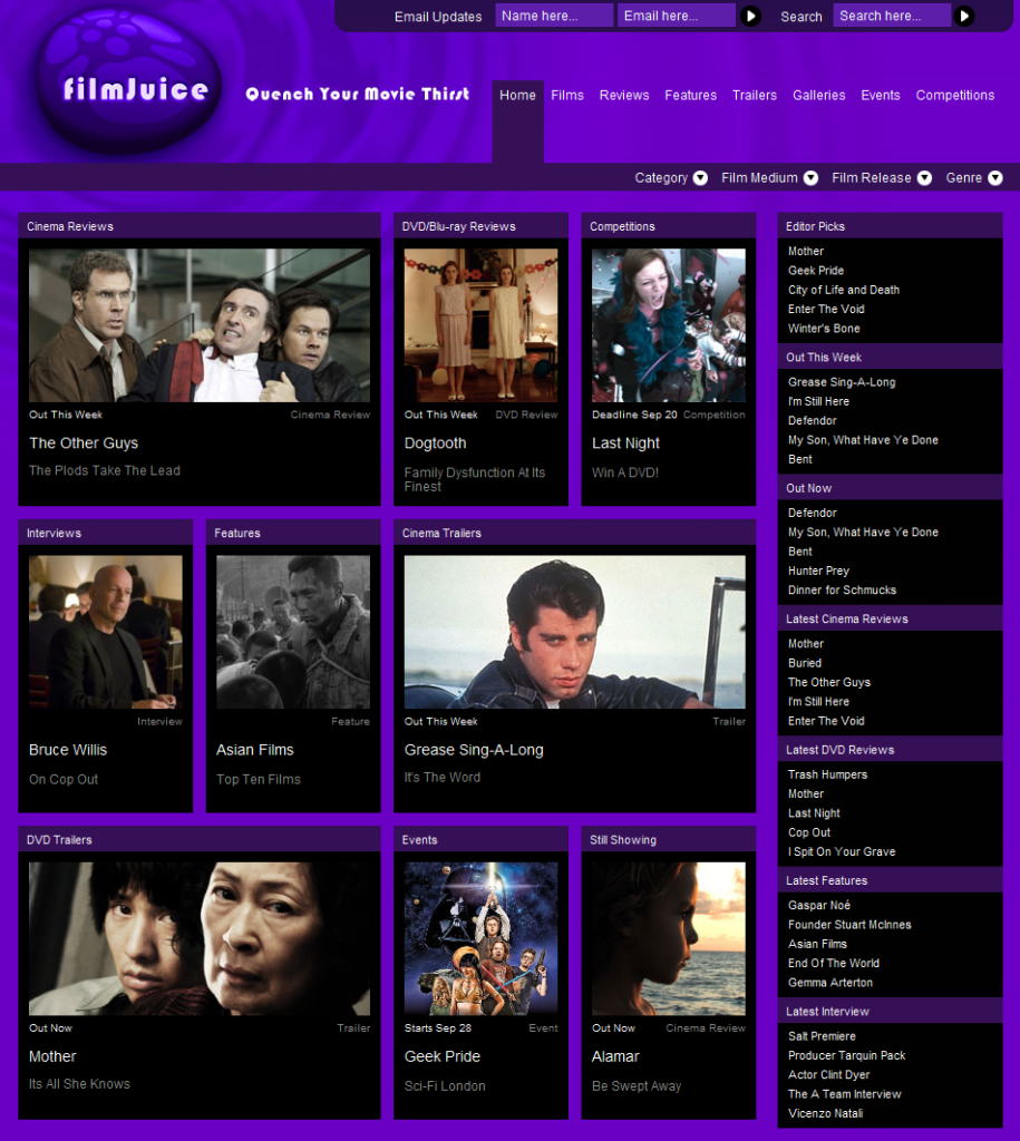 FilmJuice Home Homepage 915x1024 FilmJuice.com   Movie Reviews, Trailers, Features, Galleries, Events and Many More