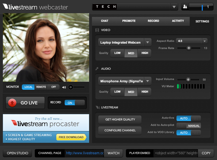 Livestream Webcaster Streaming Live Broadcast and Creating Own Custom Channel on Internet for Free