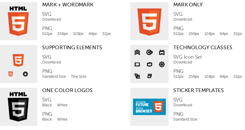 Different types of HTML5 logos and icons for download