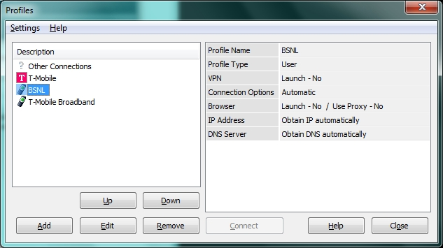 Profile created with Huawei bsnl 3g BSNL 3G Connection Settings for Huawei UMG1831 3G USB Data Card Modem