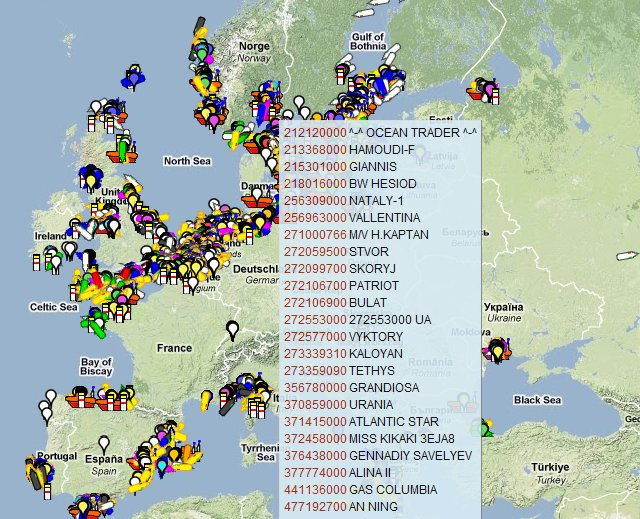 Ship Locations North sea Locate Ship Position in Sea