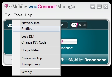 T-Mobile webConnect Manager bsnl 3g connection