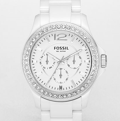 FOSSIL Ceramic Watches Ceramic White Multifunction Dial Watch CE1010 Ceramic Watches for Women