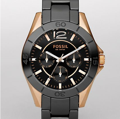 FOSSIL Ceramic Watches Womens Ceramic Black and Rose Gold Multifunction Dial Watch CE1007 Ceramic Watches for Women