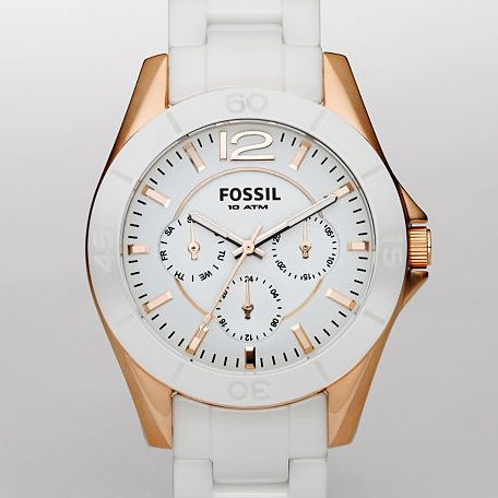 FOSSIL Watches Womens Ceramic White and Rose Gold Tone Multifunction Dial Watch CE1006 Ceramic Watches for Women